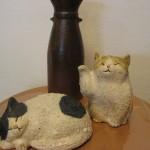 信楽焼の手造り猫