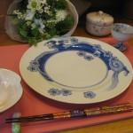 染付波桜紋のディナー皿と
