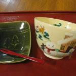 メリークリスマスと樹氷の抹茶茶盌