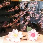 会津塗りの桜絵の屏風