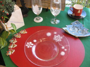 雪の華 八寸皿とビールグラス